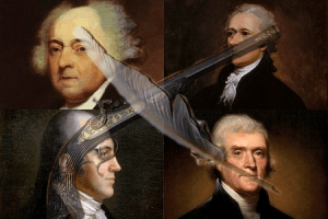 (From Left to Right: Adams, Hamilton, Burr, Jefferson)