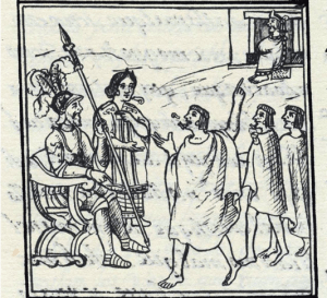 This image comes from the Florentine Codex which are paintings dated from around 1550 that illustrate the conquest of Mexico and show the translator playing central role.