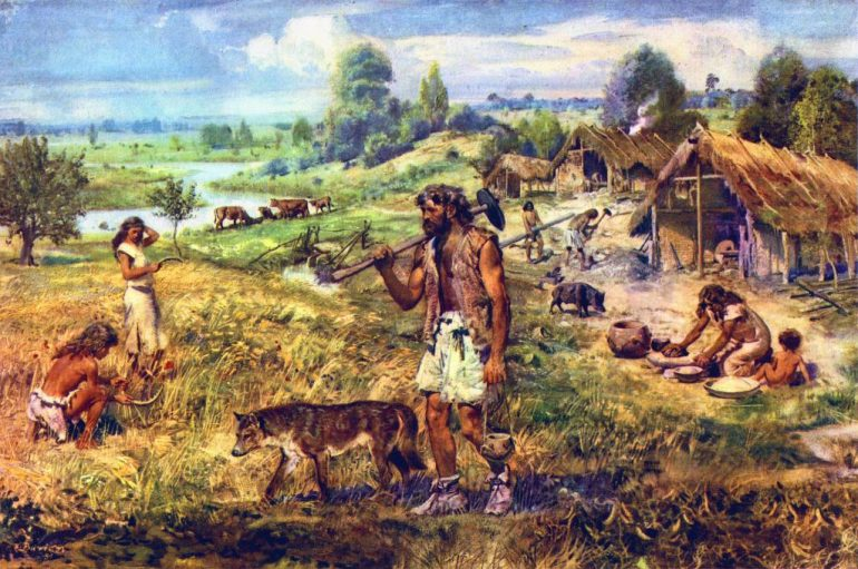 the paleolithic mesolithic and neolithic eras occurred during which age