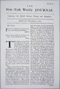 Front page of the New York Weekly Journal discussing freedom of press | New York 1733 | Courtesy of Credo Images