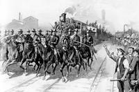 Fig.2 U.S. troops protecting a train during the railroads workers strike. (Library of Congress)