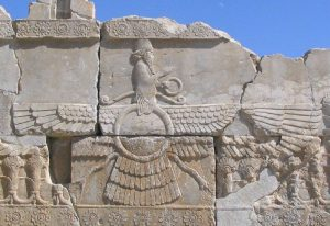 Faravahar, the visual aspect of Ahuramazda. Relief from Persepolis. | Courtesy Marco Prins