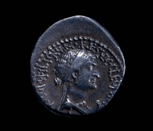 Silver denarius of Cleopatra VII and Mark Anthony. Portrait of Cleopatra. | British Museum, London, Great Britain | Courtesy of Lessi Images