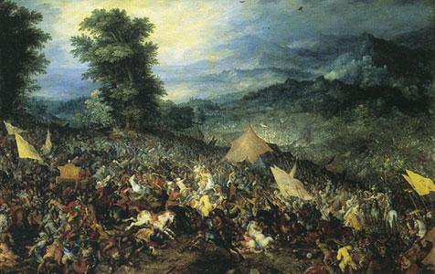 "Painting of Battle of Guagamela|Jan Brueghel the Elder's ""Batlle of Guagamela|Courtesy of Wiki Commons"