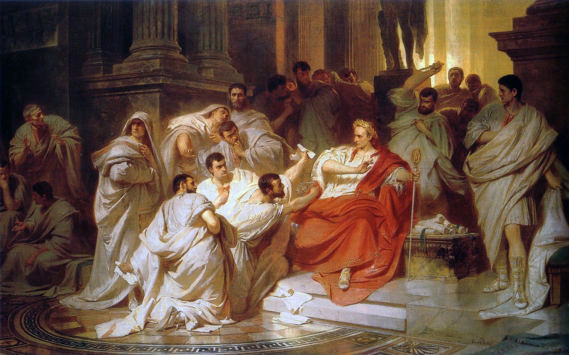 An oil on canvas painting depicting the murder of Julius Caesar by Karl von Piloty in 1865. Courtesy of WikiCommons.