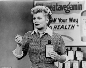Lucy tries to sell health tonic, Vitameatavegamin. | Courtesy of dailymail.co.uk
