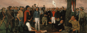 """Surrender of Santa Anna"" by William Huddle shows Santa Anna surrendering to wounded General Sam Houston, while it is rumored to be that Juan Seguin can be found in the painting watching the proceedings."