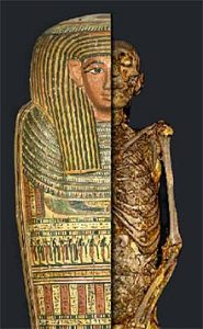 This is a depiction of Ancient Egyptian mum mummification.