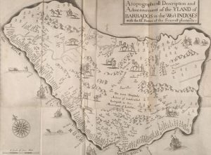 Earliest known map of the Island of Barbados | Drawn by Richard Ligon in 1657 | Courtesy of the British Library Online Gallery