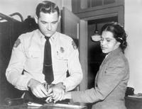 Rosa Parks is fingerprinted after her arrest for refusing to give up her seat - Courtesy of Library of Congress