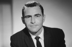Portrait of Rod Serling on the set of The Twilight Zone in 1959.