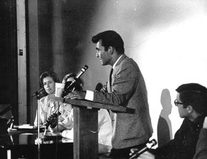 Photograph from Serling's lecture at Moorpark College (1968) courtesy of the Rod Serling Memorial Foundation and the Quest Campus magazine of Moorpark College.