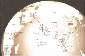 Map showing the 7 voyages of Zheng He. | courtesy of education.maritime-museum.org