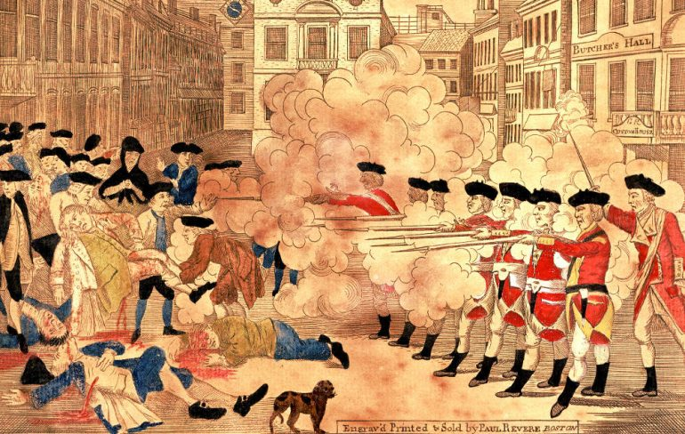 a brief history of the boston massacre in the united states Timeline of united states history  established a mission, which, after a brief period of existence, was destroyed by the natives, the whole company being massacred excepting one indian.
