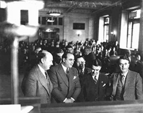 Al Capone fighting his case, accompanied by his lawyer, and body guard on Oct. 5, 1931| courtesy of the Chicago History Museum.