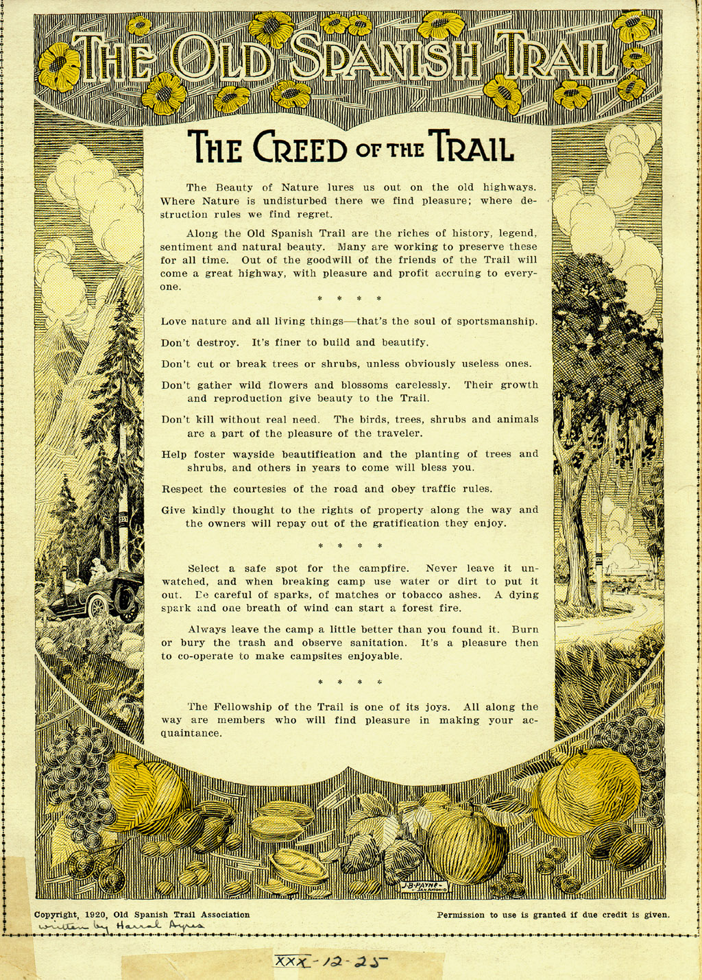 """The Creed of the Trail"" is a plea for renovation and is a strong statement of advocacy for conservation efforts 
