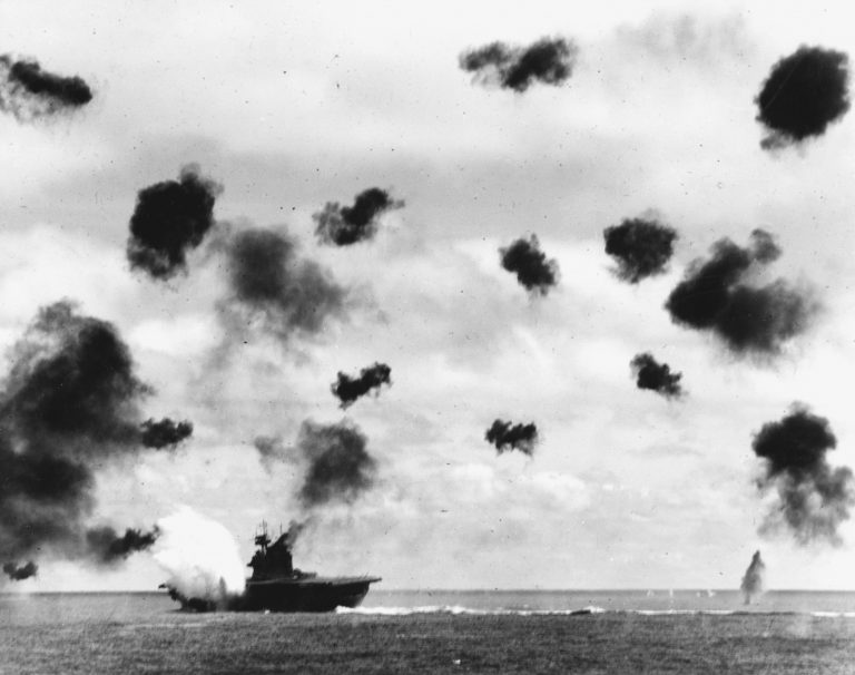 USS Yorktown Hit by Torpedo during Battle of Midway