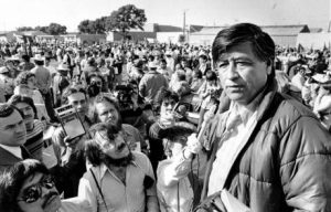 Chavez speaking to a crowd during a strike