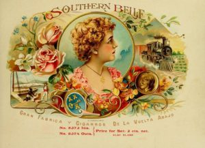 Colorful cigar label of a Southern Belle, a rail train, an enslaved man and master