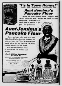 black and white Aunt Jemima advertisement with Nancy Green