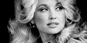 black and white image of Dolly Parton, about 1974